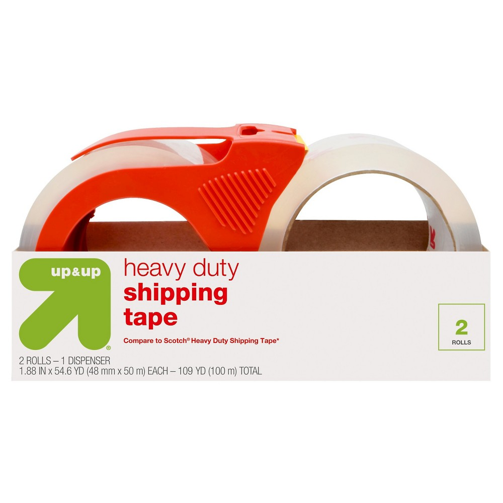 Heavy Duty Shipping Tape with Dispenser 2ct (Compare to Scotch Heavy Duty Shipping Tape) - Up&Up