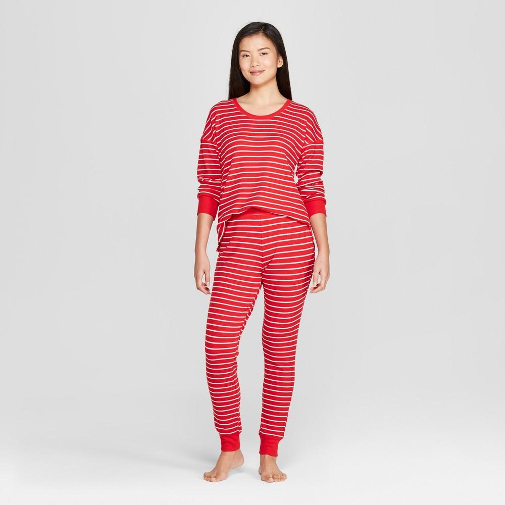 Women's Striped Pajama Set Red M