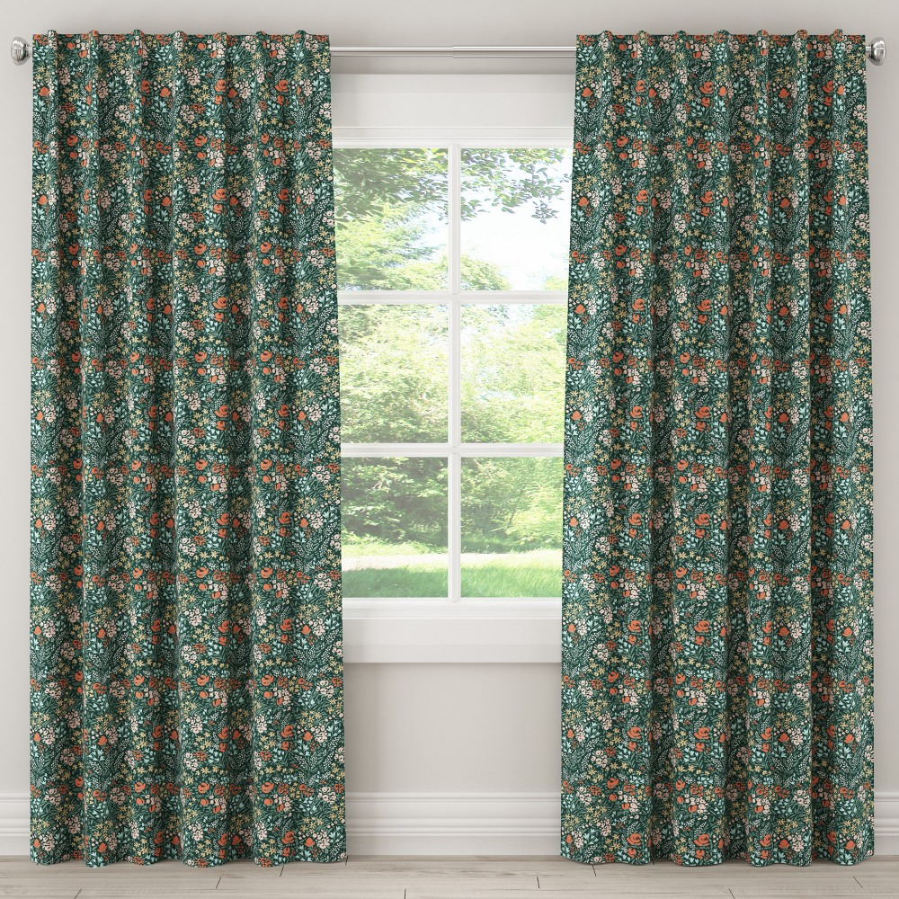 Unlined Curtain Cameila Multi Green 84L - Cloth & Co.