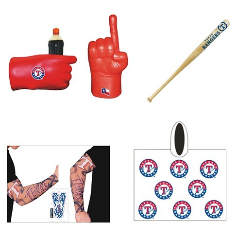 Texas Rangers Coopersburg Sports® Game Day Fan Pack: Fan Fist Tattoo Sleeve Mini Bat & Poncho - image 1 of 1