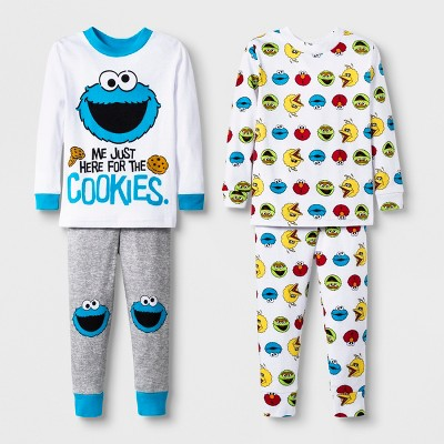 65705bd20 Toddler Boys  4pc Sesame Street Pajama Set – White 3T – BrickSeek