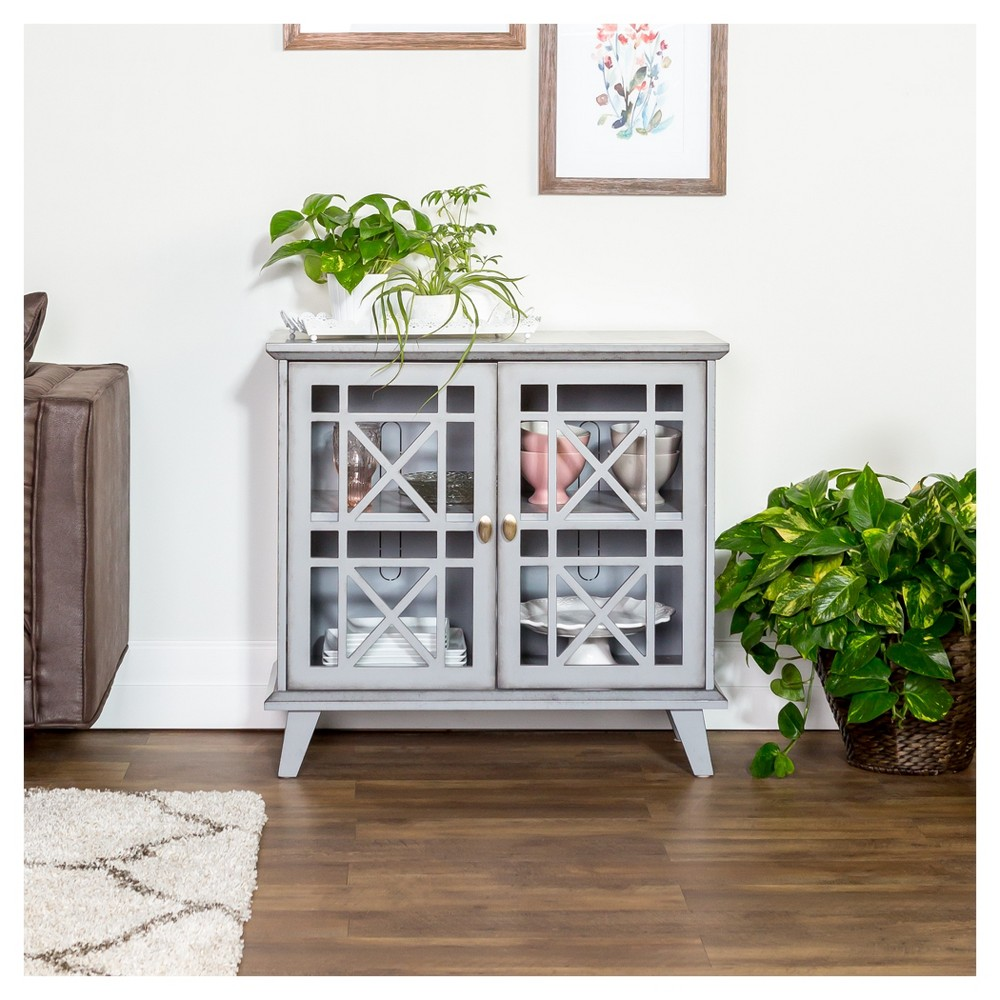 "Image of ""32"""" Gwen Fretwork Accent Console - Gray - Saracina Home"""