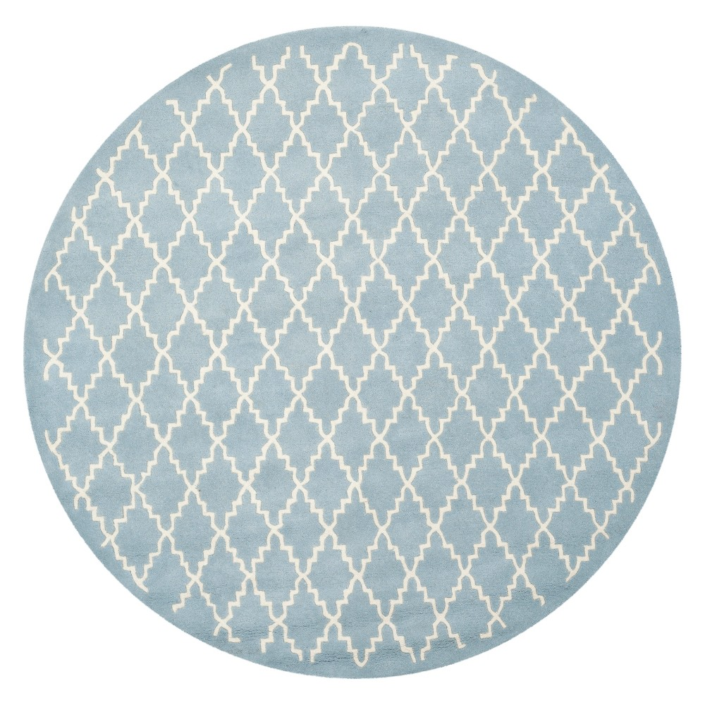 7' Quatrefoil Design Tufted Round Area Rug Blue/Ivory - Safavieh