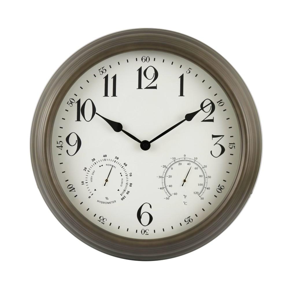 """Image of """"16"""""""" Indoor/Outdoor Bronze Metal Weather Wall Clock - Backyard Expressions, Brown"""""""