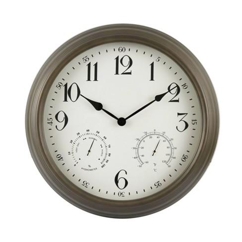 """16"""" Indoor/Outdoor Bronze Metal Weather Wall Clock - Backyard Expressions - image 1 of 2"""