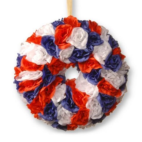"14"" Patriotic Rose Wreath - National Tree Company - image 1 of 4"