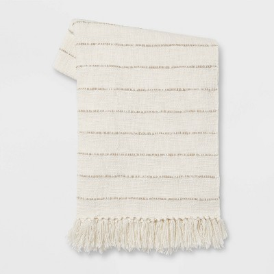 Cotton Woven Striped Throw Blanket with Frayed Edges Cream/Neutral - Threshold™