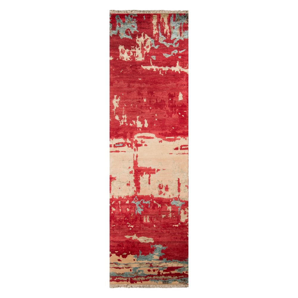 2'3X8' Splatter Knotted Runner Red - Momeni, Green