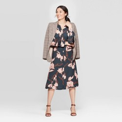 Women's Floral Print Long Sleeve Collared Midi Shirtdress - A New Day™ Olive
