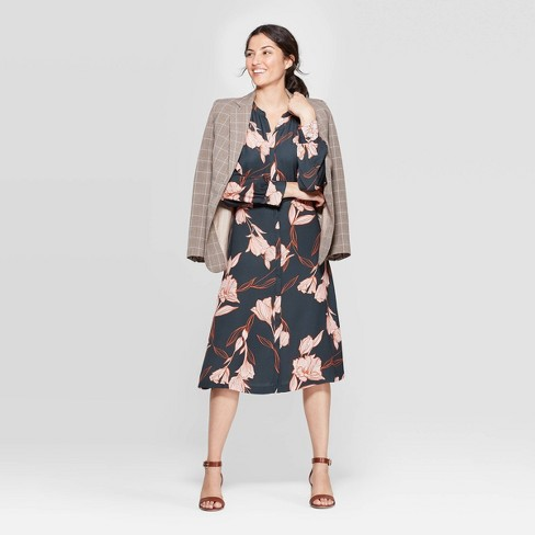 Women's Floral Print Long Sleeve Collared Midi Shirtdress - A New Day™ Olive S - image 1 of 3