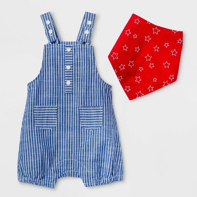 Baby Boys' Top & Bottom Set with Bandana - Cat & Jack™ Blue/White 3-6M
