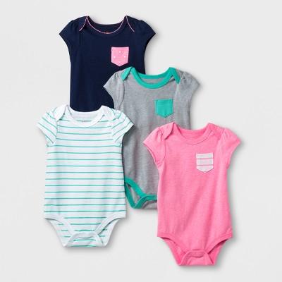 Baby Girls' 4pc Pack Short Sleeve Bodysuit Bundle - Cat & Jack™ Red Newborn