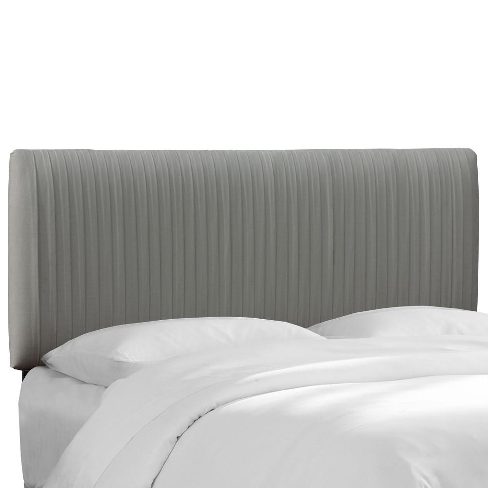 Twin Skylar Upholstered Pleated Headboard Gray Velvet - Cloth & Co.