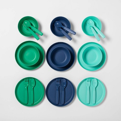 24pc Plastic Dinnerware Set Blue - Pillowfort™