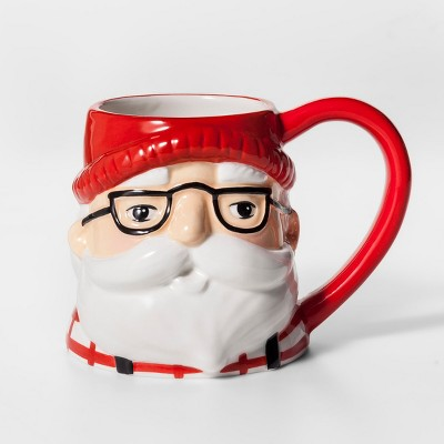 12.4oz Earthenware Santa With Glasses Mug Red/White - Threshold™