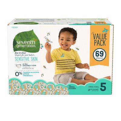Seventh Generation Free & Clear Diapers Size 5 - 69ct