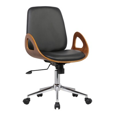 Wallace Mid-Century Office Chair in Chrome finish with Black Faux Leather and Walnut Veneer Back - Armen Living