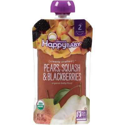 Happy Baby Clearly Crafted Pears, Squash & Blackberries - 4oz
