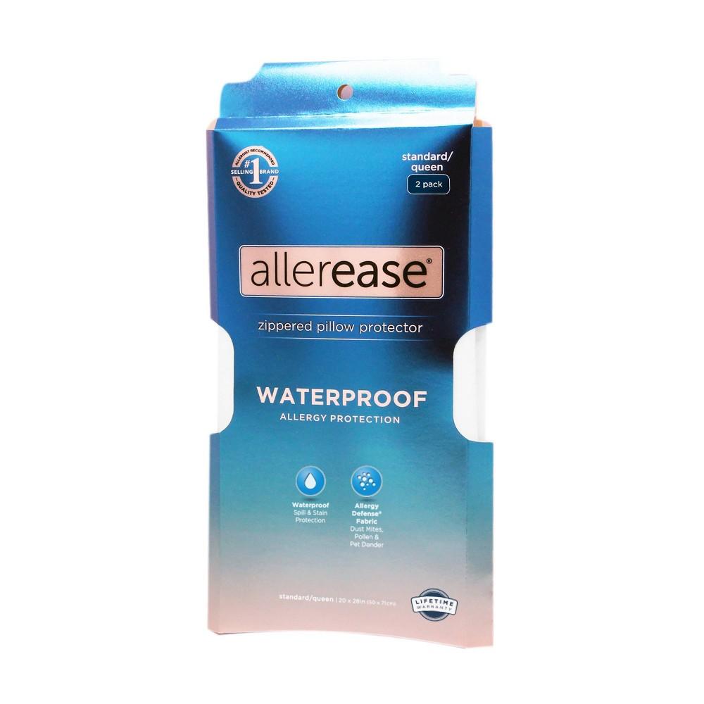 Allerease 2 Pack Waterproof Pillow Protector White Standard Queen