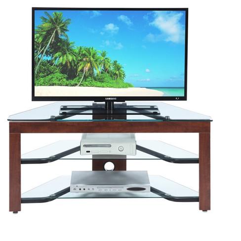 Designs2go Wood Glass Tv Stand Cherry Glass Johar Furniture