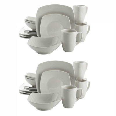 Gibson Zen Buffet 16 Piece Porcelain Square Plates, Bowls, and Mugs Dinnerware Set, Microwave and Dishwasher Safe, White (2 Pack)