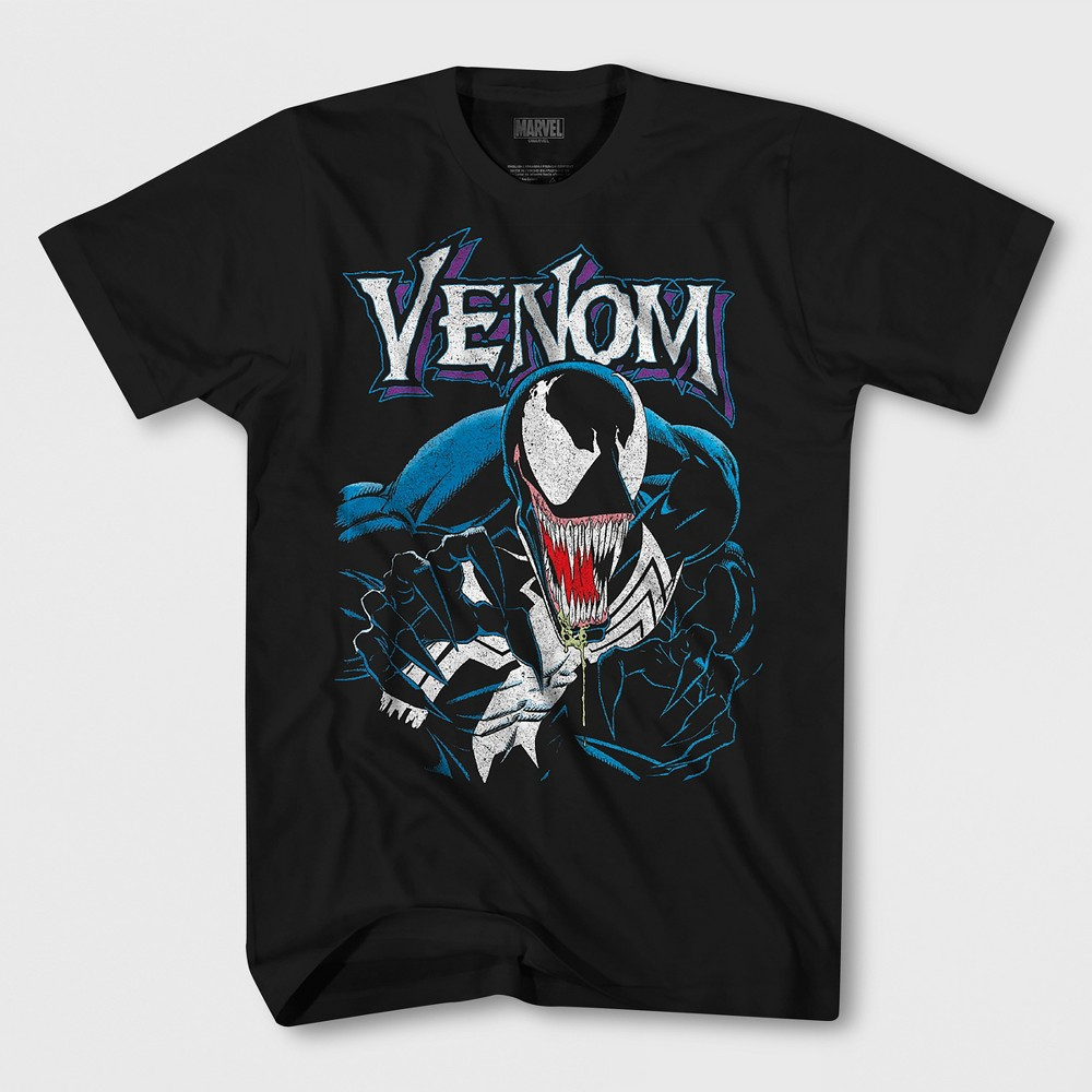Men's Short Sleeve Marvel Venom Crew T-Shirt - Black M