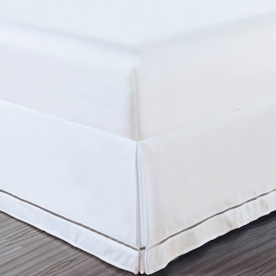 Luxury Hotel King Hemstitch 14  Drop Bed Skirt White