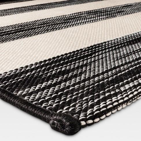 5x7 Outdoor Rug Worn Stripe Black Threshold Target