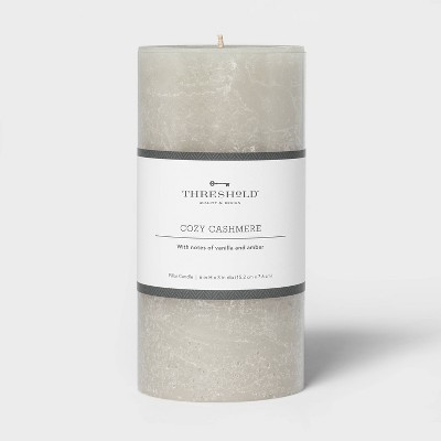 Pillar Cozy Cashmere Candle Gray - Threshold™