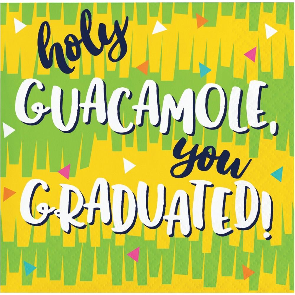 "Image of ""48ct Fiesta Fun """"Holy Guacamole"""" Grad Beverage Napkins"""