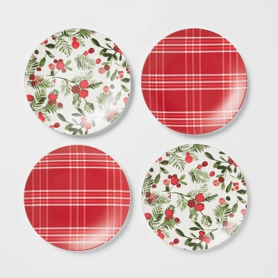 "6.8"" 4pk Melamine Plaid and Berries Appetizer Plates - Threshold™"