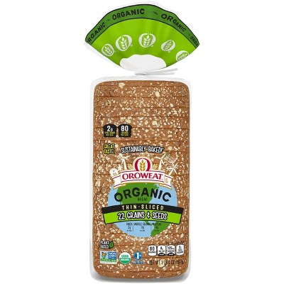 Oroweat Organic Thin Sliced 22 Grains & Seeds - 20oz