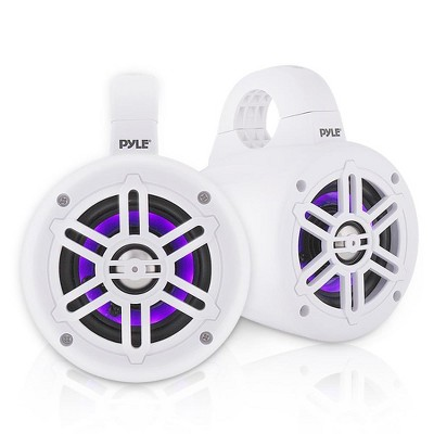 Pyle PLMRLEWB46W 4 Inch 300 Watt Waterproof Marine Grade Rated Tower Speaker System with Built In LED Lights, Pair