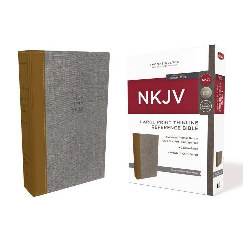 NKJV, Thinline Reference Bible, Large Print, Cloth Over Board, Tan/Gray, Red Letter Edition, Comfort - image 1 of 1