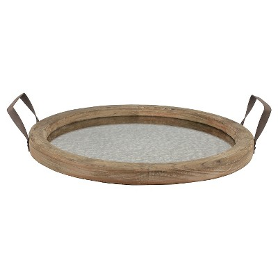 Round Rustic Wooden Tray with Distressed Mirror - Stonebriar