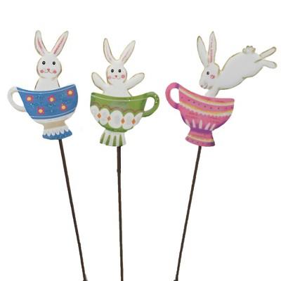 """Easter 25.5"""" Bunny Teacup Trio Garden Spring  -  Decorative Garden Stakes"""