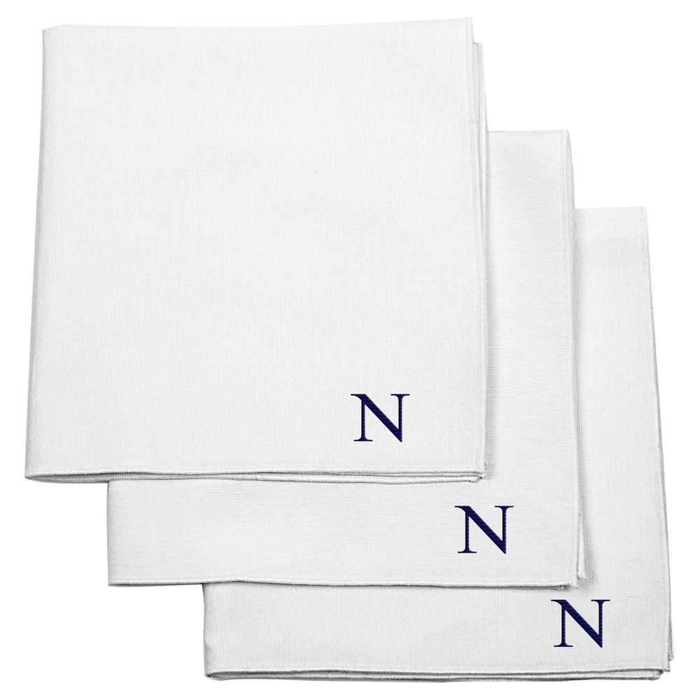 Monogram Groomsmen Gift Handkerchief Set - N, White