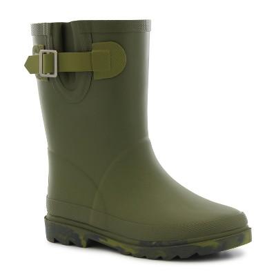 Elroy Faux Fur Line Green Rain Boots - Green