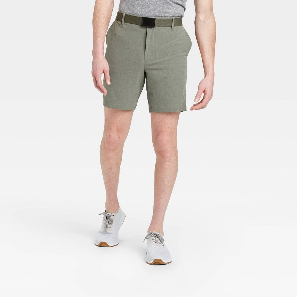 Men's Big & Tall Heather Golf Shorts - All in Motion Olive Green 46, Men's, Green Green was $30.0 now $20.0 (33.0% off)