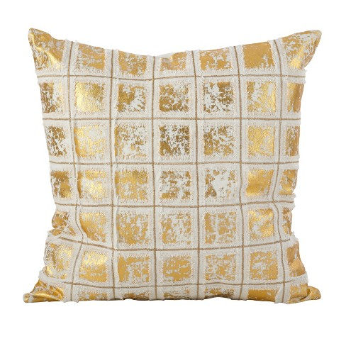 Metallic Grid Fringe Throw Pillow - image 1 of 2