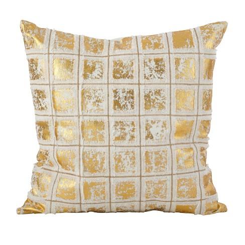 Metallic Grid Fringe Throw Pillow - image 1 of 2
