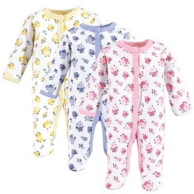 Luvable Friends Baby Girl Cotton Preemie Snap Sleep and Play 3pk, Floral, Preemie