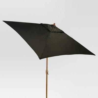 6.5' Square Umbrella - Black - Medium Wood Finish - Threshold™