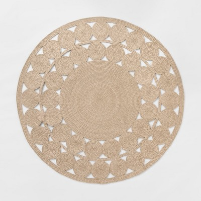 6' Ornate Woven Round Outdoor Rug Natural - Opalhouse™