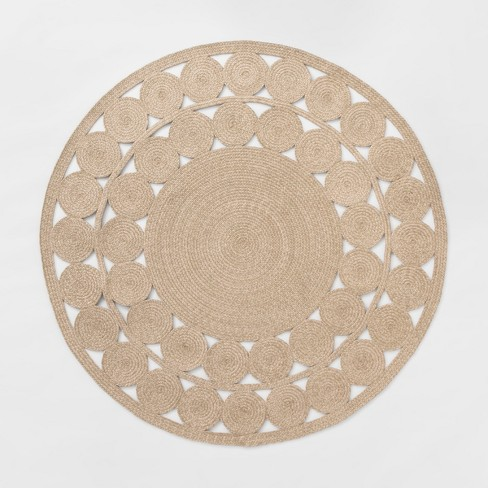 6 Ornate Woven Round Outdoor Rug