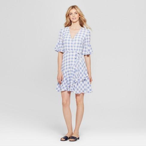 Women s Striped Asymmetrical Gingham Dress - Melonie T - Blue White ... 08b29283bf
