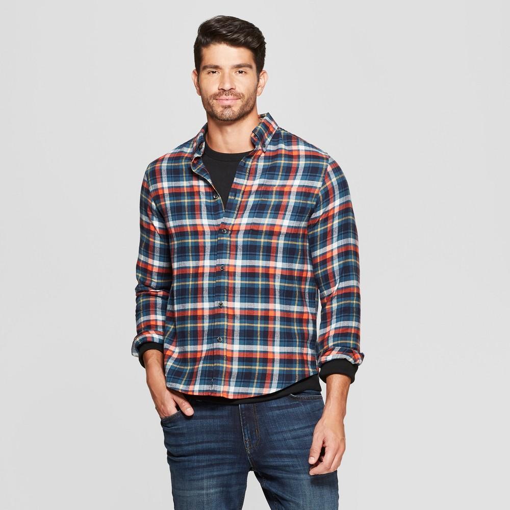 Men's Plaid Standard Fit Long Sleeve Pocket Flannel Button-Down Shirt - Goodfellow & Co Underseas Teal L