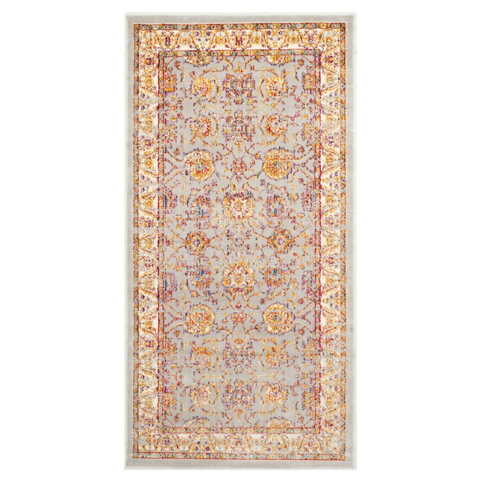 Silver/Ivory Floral Loomed Accent Rug 2'1X4' - Safavieh