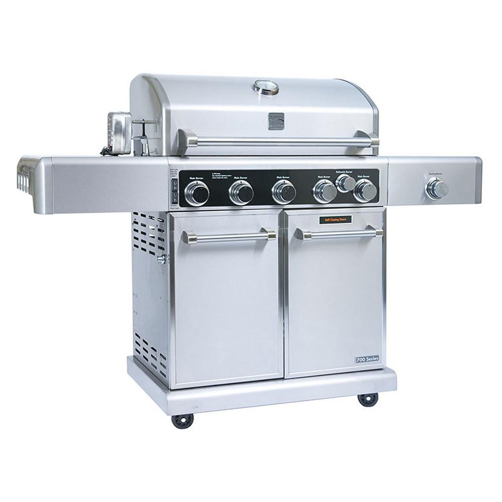 Kenmore Elite 5 Burner Gas Grill with Rotisserie Kit – PG40506SR, Silver 53400603