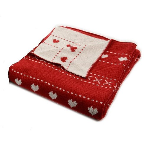 Christmas Throw Blanket.Kaemingk Alpine Chic Red With White Heart Pattern Knitted Christmas Throw Blanket 50 X 60